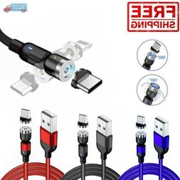 180+360° Rotate Magnetic Phone Charger Cable USB Adapter iP