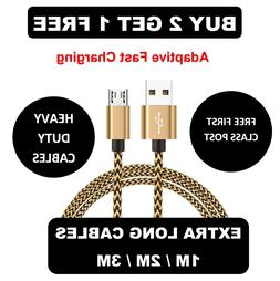 1M 2M 3M Long Micro USB Data Sync Charger Cable Lead For Sam