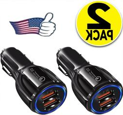 2 Pack 2 USB Port Fast QC 3.0 Car Charger for iPhone Samsung