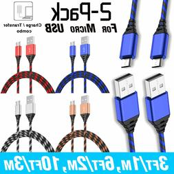 2-Pack 3FT 6FT 10FT Micro USB Charger Cable Phone Charging D