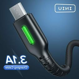 INIU 3.1A Micro USB Cable LED Mobile Phone Charger Type C Fa