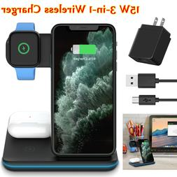 3 in 1 15W Qi Wireless Fast Charger Stand Pad for iPhone 11/