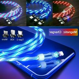 3 in 1 LED Glowing Flowing Magnetic Phone Charger for Type C