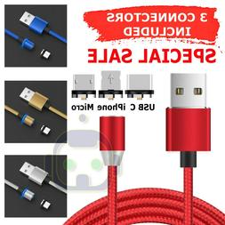3 in 1 Magnetic Fast Charging USB Cable Charger 3A Phone For