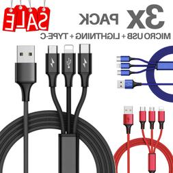 3 Pack Phone Charger Lightning Cable Charging Cord Heavy Dut