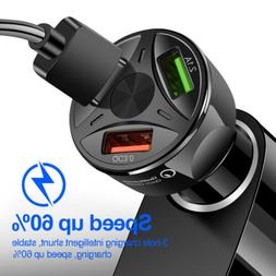 3 Port USB Car Charger Adapter LED Display QC 3.0 Fast Charg