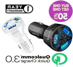 3 Port USB Fast Car Charger Adapter QC 3.0 for Samsung iPhon