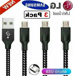 3Pack Micro USB Fast Charger Cable Data Sync Cord For OEM Sa