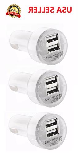 3X Dual USB Car Charger 2.1 Amp High Speed Fast For Phone iP
