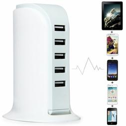 4A 5 Port USB Wall Charger Power Adaptor for Phone Tablet iP