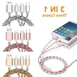 4Pcs Fast USB Charging Cable Universal 3 in 1 Multi Function