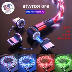 540° Light Up Magnetic Phone Charger Cable LED Flowing Cord
