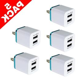 5Pack Dual USB Wall Charger 2100mA Power Adapter AC Universa