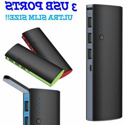 900000mAh 3 USB External Power Bank Portable LCD LED Charger