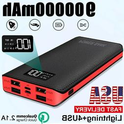 900000mAh 4USB External Power Bank Portable LCD LED Charger