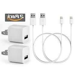 Apple 2 Pack 1A Charger Power Adapter + 2X 1 Meter 8 Pin Cer