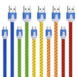 Magic-T 5 Pack Extra long Micro USB Cable 10ft Braided Andro