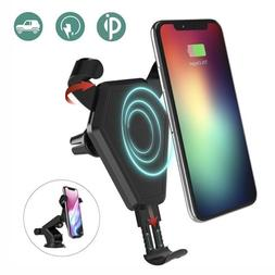 Qi Wireless Car Fast Charger Phone Mount Holder for iPhone 8