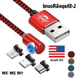US 1~3M Magnetic Micro USB C 3 in 1 360° L Lightning LED 2.