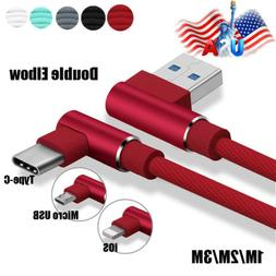 US Elbow Braided Charger Lightning Micro USB C Fast Charging