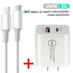 For Apple iPhone and iPad 18W Fast Wall Charger USB-C Power