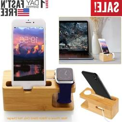 Bamboo Charging Dock Station Charger Holder Stand For Watch