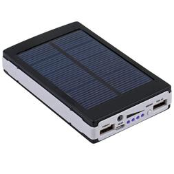 Black 80000mAh Dual USB Portable Solar Battery Charger Power