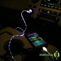Blue Car Charger - Micro USB Cell Phone Smart Fast LED Glow