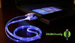 Blue LED Cell Phone Charger - Micro USB Glow Cable - Cell Ph