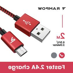 RAMPOW Braided Micro USB Cable, Samsung Fast Charger Cord  C
