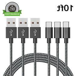Type C Cable 3 Pack 10FT, Asstar Nylon Braided Cord for ZTE