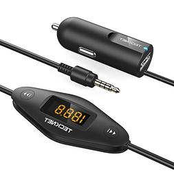 TECKNET F27 In Car Universal Wireless FM Transmitter with 3.