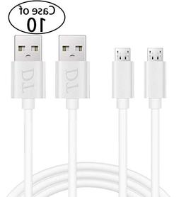 Case of 10, 2pcs/pack, Micro USB Cable Android Charger,High