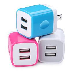 Charger Cubes, Ououdee 3-Pack Travel Adapter USB 2.1A Dual P