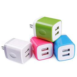 Charging Block,Wall Adapter,Sicodo 4-Pack 2.1A USB Wall Trav