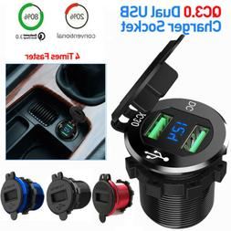 Dual QC3.0 USB Fast Car Charger Boat Motorcycle Adapter Outl