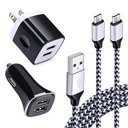 Dual USB Car Charger, Charging Box Block and 6Ft Android Pho