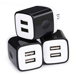 Dual USB Wall Charger, 3 Pack Ououdee 2.1A Phone Charger Bri