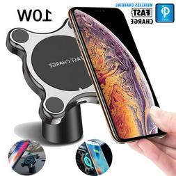Fast Qi Wireless Car Charger Magnetic Phone Holder For iPhon