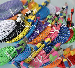 Flat Braided Noodle Fabric Micro USB Charger Cable for iphon