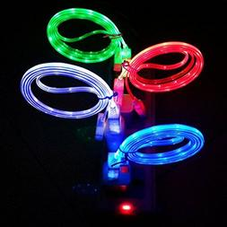 LAAGIE 4 pcs Glow in the Dark Light up LED Lightning Chargin
