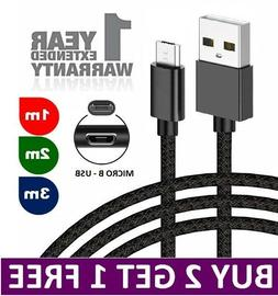 Heavy Duty Braided Micro USB Charger Charging Lead Data Sync