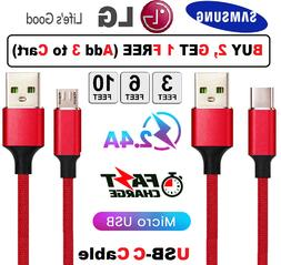 Heavy Duty Charging Phone Type C Micro USB Cable For Android