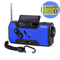 IntiPal 2000mAh Emergency Solar Hand Crank Radio with AM/FM/