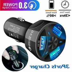 For IOS Android 3 Ports USB Car Charger Adapter LED Display