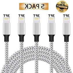 iPhone Charger, MFi Certified Lightning Cable, 5 Pack  Nylon
