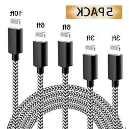 iPhone Charger, MFi Certified Cable, 5 Pack Extra Long Nylon