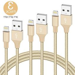 Teletrogy iPhone Charger, 3Pack 3ft 6ft 10ft Nylon Braided F