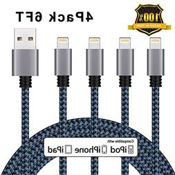 iPhone Charger Cablex Lightning Cable 4Pack 6FT Nylon Braide