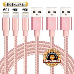 Suanna iPhone Charger 3Pack 10FT Nylon Braided Certified Lig